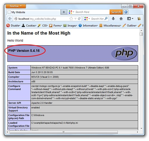 1running php code on wamp software